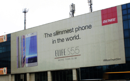 JCDecaux's biggest displays in New Delhi carry Gionee's slimmest phone