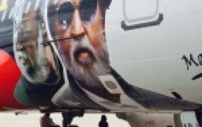 Air Asia aircraft wrapped with Kabali promo graphic