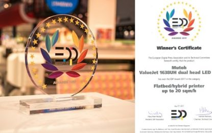 Mutoh honoured with EDP Award for its ValueJet 1638UH hybrid LED UV printer