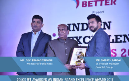 ColorJet India bags 'Indian Brand Excellence Award 2017'