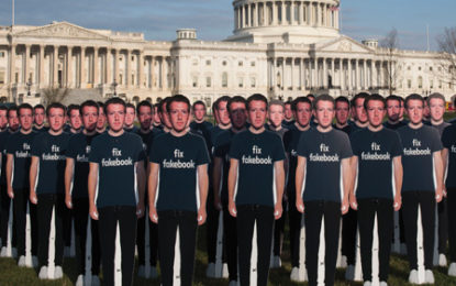 100 life size Mark Zuckerberg cutouts on White House lawn