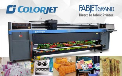 ColorJet India showing FabJet Grand direct-to-fabric printer at Heimtextil India 2018