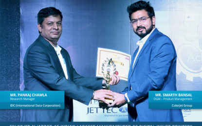 For second time ColorJet India wins India's Largest Manufacturer for Wide-Format Digital Printer of the Year Award